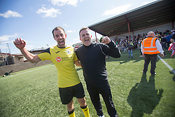 Edinburgh City's Douglas Gair and Edinburgh City manager Gary Jardine. the first club to be promoted to Scottish League Two. East Stirling 0 v 1 Edinburgh City, League play-off game.