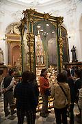 Tourist tour group, Chapel of Saint Teresa, cathedral church, Cordoba, Spain