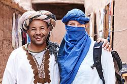 Textile merchant in ancient ksar (old city) of Aït Benhaddou, Morocco
