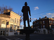 The firefighters statue in Middletown, N.Y., at sunset  on April 2, 2013.
