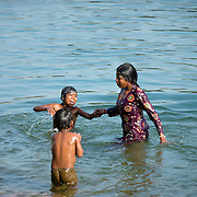 Children swimming in Betwa River, Orchha, India