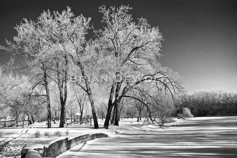 Winter scene of the playground at Island Park in Geneva, IL