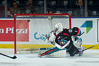 KELOWNA, CANADA - OCTOBER 5:  James Porter #1 of the Kelowna Rockets misses a second period save against the Victoria Royals on October 5, 2018 at Prospera Place in Kelowna, British Columbia, Canada.  (Photo by Marissa Baecker/Shoot the Breeze)  *** Local Caption ***