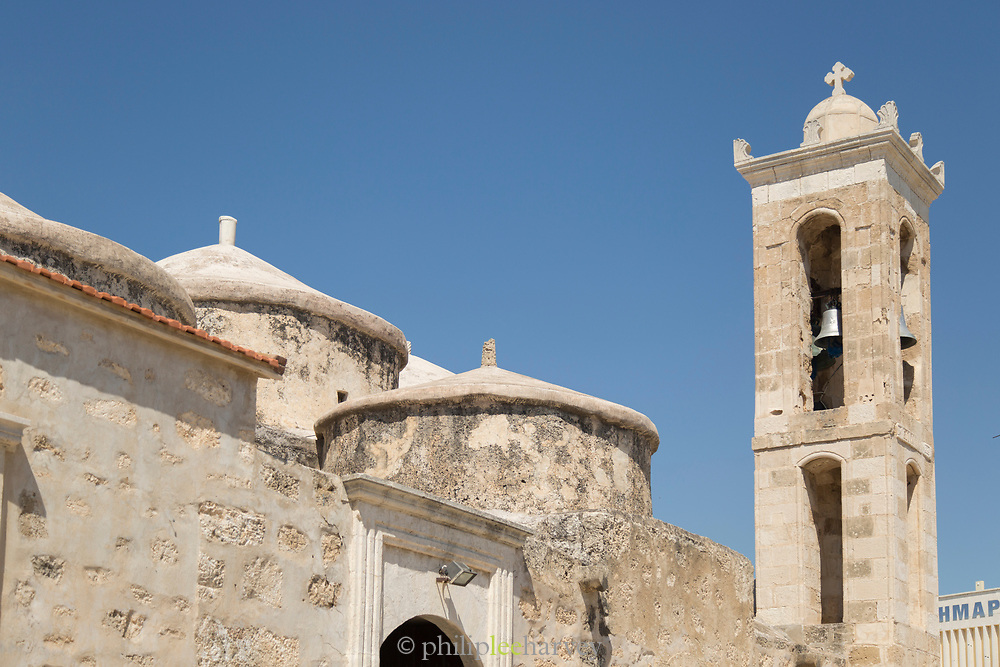 Agia Paraskevi Church tower against clear sky captured from low angle, Paphos, Cyprus