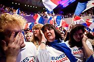06052012. Paris. SARKOZY 2012. Soirée du second tour de l'élection présidentielle 2012 à la Mutualité. Intervention de Nicolas Sarkozy.
