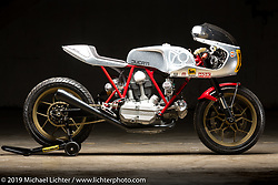 Bedeveled, this Ducati bevel-engine racer commissioned by the Haas Moto Museum was built by Walt Siegl in his New Hampshire shop. The Handbuilt Show. Austin, Texas USA. Friday, April 12, 2019. Photography ©2019 Michael Lichter.