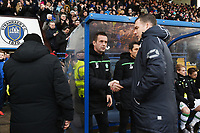 10/01/16 WILLIAM HILL SCOTTISH CUP 4TH RND<br /> STRANRAER v CELTIC<br /> STAIR PARK - STRANRAER <br /> Stranraer manager Brian Reid (right) shakes hands with Celtic manager Ronny Deila ahead of kick off