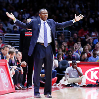 27 December 2014: Toronto Raptors head coach Dwane Casey reacts during the Toronto Raptors 110-98 victory over the Los Angeles Clippers, at the Staples Center, Los Angeles, California, USA.