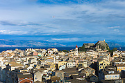 Panorama of Kerkyra, Corfu Town with Old Fort, The Paleo Frourio in Corfu, Ionian Islands, Greece
