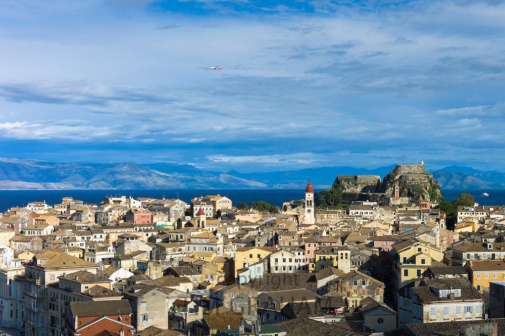 Panorama of Kerkyra, Corfu Town with Old Fort, The Paleo Frourio in Corfu, Ionian Islands, Greece