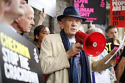June 2, 2017 - London, London, UK - London, UK. Sir IAN MCKELLEN and activists stage a protest outside the Russian Embassy in London, calling on the Russian authorities to fully investigate reports of a crackdown and torture on LGBTI people in Chechnya. (Credit Image: © Tolga Akmen/London News Pictures via ZUMA Wire)