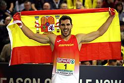 Spain's Jorge Urena celebrates winning the Men's Heptathlon during day three of the European Indoor Athletics Championships at the Emirates Arena, Glasgow.