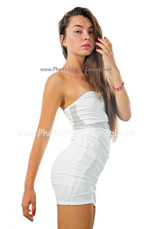 Young Female teen in white casual clothes on white background Model released