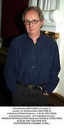 Film director KEN LOACH at a party in London on 3rd November 2003.POD 23