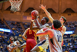 Mar 6, 2019; Morgantown, WV, USA; West Virginia Mountaineers forward Lamont West (15) shoots in the lane during the second half against the Iowa State Cyclones at WVU Coliseum. Mandatory Credit: Ben Queen-USA TODAY Sports