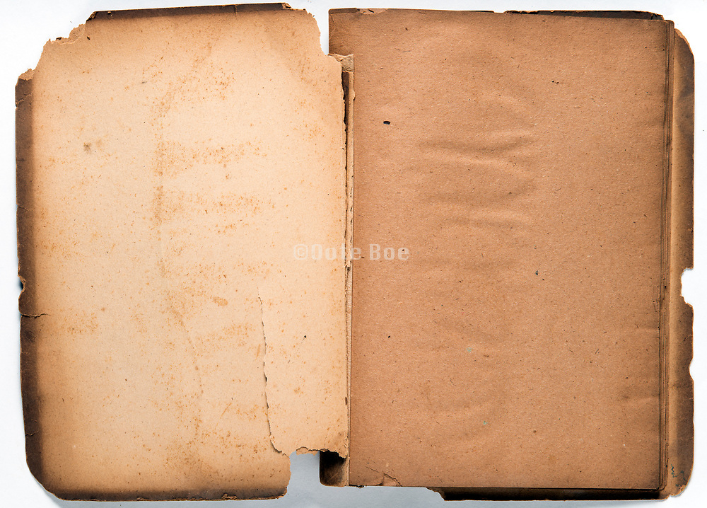 empty pages of an open old deteriorating scrapbook