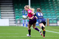 Olivia Jones of Loughborough Lightning is caught by Vicky Laflin of Worcester Warriors Women  - Mandatory by-line: Nick Browning/JMP - 14/11/2020 - RUGBY - Sixways Stadium - Worcester, England - Worcester Warriors Women v Loughborough Lightning - Allianz Premier 15s
