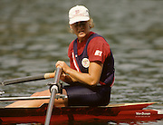 Bled, Slovenia, YUGOSLAVIA. USA W1X. Alison TOWNLEY. 1989 World Rowing Championships, Lake Bled. [Mandatory Credit. Peter Spurrier/Intersport Images]