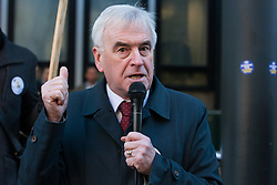 London, UK. 22nd January, 2019. Shadow Chancellor John McDonnell addresses support staff at the Department for Business, Energy and Industrial Strategy (BEIS) represented by the Public and Commercial Services (PCS) union on the picket line after beginning a strike for the London Living Wage of £10.55 per hour and parity of sick pay and annual leave allowance with civil servants. The strike is being coordinated with receptionists, security staff and cleaners at the Ministry of Justice (MoJ) represented by the United Voices of the World (UVW) trade union.