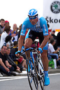 France - Tuesday, Jul 08 2008:  Team Milram's Erik Zabel finished in 99th place, 3' 19'' down on the winner, Stefan Schumacher, of Stage 4 of the 2008 edition of the Tour de France cycle race. The stage was a 29.5km time trial starting and ending in Cholet.  (Photo by Peter Horrell / http://www.peterhorrell.com)