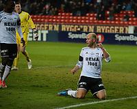 Fotball Tippeligaen Rosenborg - Sandnes Ulf<br /> 19 oktober 2012<br /> Lerkendal Stadion, Trondheim<br /> <br /> <br /> <br /> Mikael Dorsin jubler for 2-0-scoringen for Rosenborg sammen med John Chibuike .I bakgrunnen depper Sandnes Ulfs keeper Sean McDermott<br /> <br /> <br /> <br /> Foto : Arve Johnsen, Digitalsport