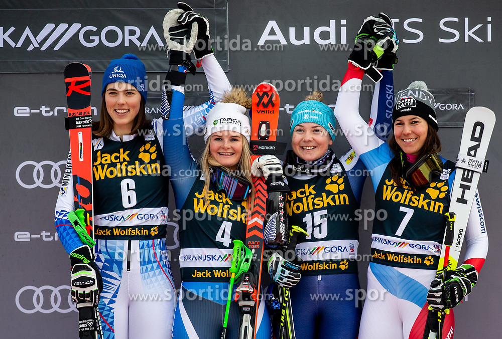 2nd placed VLHOVA Petra of Slovakia, winner ROBINSON Alice of New Zealand and 3rd placed HROVAT Meta of Slovenia and HOLDENER Wendy of Switzerland celebrate at Trophy ceremony after the 2nd Run during the Ladies' GiantSlalom at 56th Golden Fox event at Audi FIS Ski World Cup 2019/20, on February 15, 2020 in Podkoren, Kranjska Gora, Slovenia. Photo by Matic Ritonja / Sportida