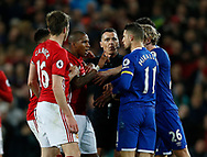 Ashley Young of Manchester United and Kevin Mirallas of Everton clash during the English Premier League match at Old Trafford Stadium, Manchester. Picture date: April 4th 2017. Pic credit should read: Simon Bellis/Sportimage