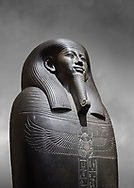 Ancient Egyptian greywacke sarcophagus of Vizier Gemenefherbak - late Period, 26th Dynasty (664-525BC). Egyptian Museum, Turin. Grey background<br /> <br /> Gemenefherbak was a vizier, minister, as indicated by a pendant picturing the goddess Maat hanging around his neck in the shadow of his beard. Despite the hardness of the greywacke stone the sarcophagus is made from, its makers have shown incredible skill creating a sarcophagus with intricate detail and a highly polished finish. .<br /> <br /> If you prefer to buy from our ALAMY PHOTO LIBRARY  Collection visit : https://www.alamy.com/portfolio/paul-williams-funkystock/ancient-egyptian-art-artefacts.html  . Type -   Turin   - into the LOWER SEARCH WITHIN GALLERY box. Refine search by adding background colour, subject etc<br /> <br /> Visit our ANCIENT WORLD PHOTO COLLECTIONS for more photos to download or buy as wall art prints https://funkystock.photoshelter.com/gallery-collection/Ancient-World-Art-Antiquities-Historic-Sites-Pictures-Images-of/C00006u26yqSkDOM