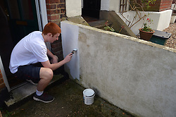 Young man painting a wall MR