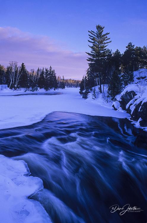 Wanapitei River Rapids in winter, Greater Sudbury, Ontario, Canada