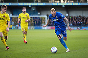 AFC Wimbledon midfielder Mitchell (Mitch) Pinnock (11) dribbling during the EFL Sky Bet League 1 match between AFC Wimbledon and Fleetwood Town at the Cherry Red Records Stadium, Kingston, England on 8 February 2020.
