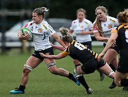 Rachel Johnson of Exeter Chiefs is challenged by Edel McMahon of Wasps - Mandatory by-line: Arron Gent/JMP - 06/03/2021 - RUGBY - Twyford Avenue - Acton, England - Wasps FC Ladies v Exeter Chiefs Women - Allianz Premier 15s