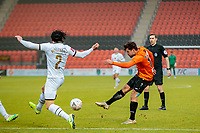 Football - 2020 / 2021 Emirates FA Cup - Round 2 - Barnet vs Milton Keynes Dons - The Hive<br /> <br /> Mike Petrasso (Barnet FC) with the shot at goal that caused his injury and his substitution <br /> <br /> COLORSPORT/DANIEL BEARHAM