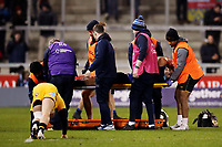 Rugby Union - 2019 / 2020 Gallagher Premiership - Sale Sharks vs. Wasps <br /> <br /> Josh Beaumont of Sale Sharks is carried off the pitch on a stretcher after injuring his knee, at AJ Bell Stadium,<br /> <br /> COLORSPORT/PAUL GREENWOOD