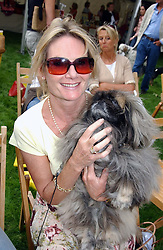LADY MARY-GAYE CURZON with her dog  Weeming Cu  at the Macmillan Cancer Relief Dog Day held at the Royal Hospital Chelsea South Grounds, London on 6th July 2004.