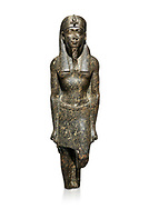 Ancient Egyptian statue of a Ptolomaic king in pharaonic regalia, granodiorire, Ptolemaic Period (332-30BC). Egyptian Museum, Turin. white background<br /> <br /> The Ptolomaic king is dressed a a pharaoh wearing a nemes headdress and a false beard . Drovetti Collection, Cat 1384 .<br /> <br /> If you prefer to buy from our ALAMY PHOTO LIBRARY  Collection visit : https://www.alamy.com/portfolio/paul-williams-funkystock/ancient-egyptian-art-artefacts.html  . Type -   Turin   - into the LOWER SEARCH WITHIN GALLERY box. Refine search by adding background colour, subject etc<br /> <br /> Visit our ANCIENT WORLD PHOTO COLLECTIONS for more photos to download or buy as wall art prints https://funkystock.photoshelter.com/gallery-collection/Ancient-World-Art-Antiquities-Historic-Sites-Pictures-Images-of/C00006u26yqSkDOM