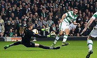 05/11/15 UEFA EUROPA LEAGUE GROUP STAGE<br /> CELTIC v MOLDE FK<br /> CELTIC PARK - GLASGOW<br /> Celtic's Tom Rogic (right) sees his shot saved by Ethan Horvath