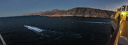 An iPhone6 panoramic image leaving the port of Khasab. Images from the MSC Musica cruise to the Persian Gulf, visiting Abu Dhabi, Khor al Fakkan, Khasab, Muscat, and Dubai, traveling from 13/12/2015 to 20/12/2015.