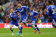 Cardiff City's Sean Morrison (4) celebrates with team mate Craig Noone (l) after he scores his teams 1st goal. EFL Skybet championship match, Cardiff city v Barnsley at the Cardiff city stadium in Cardiff, South Wales on Saturday 17th December 2016.<br /> pic by Carl Robertson, Andrew Orchard sports photography.