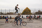 Bike Kill, Brooklyn, NY, on Saturday, Oct. 31, 2015. <br /> <br /> Photograph by Andrew Hinderaker