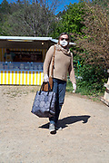 outdoors improvised food market shopper during Covid 19 crisis France April 2020