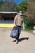 outdoors improvised food market shopper during Covid 19 crisis France April 2020