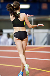 Millrose Games indoor track and field: Sheila Reid, CAN, victory lap, cheers for high schooner Mary Cain