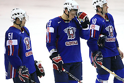 Slovenian team (Jakob Milovanovic, Damjan Dervaric, Dejan Varl) sad after ice-hockey game Slovenia vs Slovakia at second game in  Relegation  Round (group G) of IIHF WC 2008 in Halifax, on May 10, 2008 in Metro Center, Halifax, Nova Scotia, Canada. Slovakia won after penalty shots 4:3.  (Photo by Vid Ponikvar / Sportal Images)