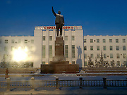 Sculpture of Lenin at the Lenin Square in the city center of Yakutsk. Yakutsk is a city in the Russian Far East, located about 4 degrees (450 km) below the Arctic Circle. It is the capital of the Sakha (Yakutia) Republic (formerly the Yakut Autonomous Soviet Socialist Republic), Russia and a major port on the Lena River. Yakutsk is one of the coldest cities on earth, with winter temperatures averaging -40.9 degrees Celsius.