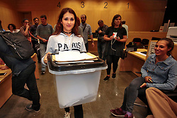 File photo : Self-determination ballot for the independence of Catalonia. Counting ballots. Place de la Catalonia festive evening after the poll. Barcelona, Spain, October 1, 2017. Photo by Pascal Parrot/ABACAPRESS.COM