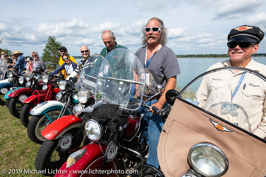 Rowdy Schenck of Carlsbad, NM lined up for the panorama portrait in Aune Osborne Park in Sault Sainte Marie, the site of the official start of the Cross Country Chase motorcycle endurance run from Sault Sainte Marie, MI to Key West, FL. (for vintage bikes from 1930-1948). Thursday, September 5, 2019. Photography ©2019 Michael Lichter.