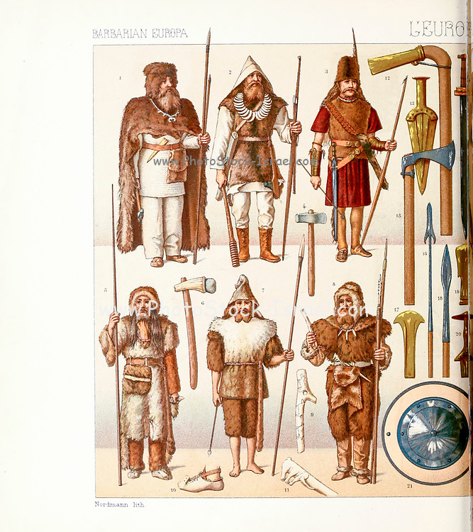 Ancient Barbarian fashion and accessories from Geschichte des kostüms in chronologischer entwicklung (History of the costume in chronological development) by Racinet, A. (Auguste), 1825-1893. and Rosenberg, Adolf, 1850-1906, Volume 1 printed in Berlin in 1888