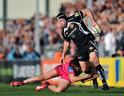 Thomas Waldrom of Exeter Chiefs gets past Seb Stegmann of London Welsh - Photo mandatory by-line: Patrick Khachfe/JMP - Mobile: 07966 386802 07/03/2015 - SPORT - RUGBY UNION - Exeter - Sandy Park - Exeter Chiefs v London Welsh - Aviva Premiership