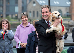 © Licensed to London News Pictures; 08/05/2021; Bristol, UK. Labour's DAN NORRIS (pictured with his dog Angel) wins the election for the West of England Combined Authority Mayor, with the declaration taking place at the SS Great Britain. Photo credit: Simon Chapman/LNP.